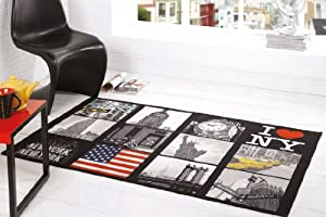 """I Love NY York US America Design Washable Black Grey Red Rug in 100 x 160 cm (3'3"""" x 5'3"""") Carpet from Lord of Rugs"""