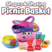 14-piece picnic set includes: 6 food items, 2 plates, 2 forks, 2 cups, 1 blanket and 1 basket.