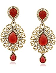 VK Jewels Red Tear Drop Gold Plated Alloy Drop Earring Set For Women & Girls -ERZ1293G [VKERZ1293G]