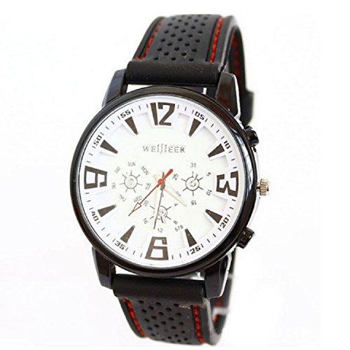 Sannysis 1Pc White Pilot Aviator Army Silicone Men Outdoor Sport Wrist Watch