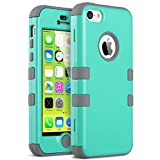 iPhone 5C Case, ULAK 3in1 Anti Slip IPhone 5C Case Hybrid with Soft Flexible Inner Silicone Skin Protective Case Cover for Apple iPhone 5C Mint + Grey