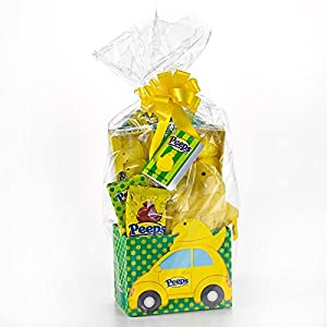 Chicks Vs Bunnies Peeps Marshmallow Themed Easter Candy Basket with Plush (Chicks)