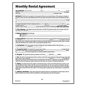 monthly rental agreement business claim forms office products