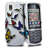 Accessory Master Silicone Case for Nokia Asha 300 Flying Butterflies Flower Design