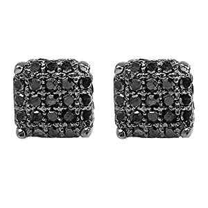 0.33 Carat (ctw) Black Rhodium Plated Sterling Silver Black Diamond Dice Shape Iced Stud Earrings 1/3 CT