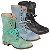 Steve Madden Womens Lace-up Round Toe Boot