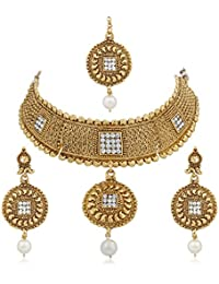 Meenaz Copper Traditional Jewellery Necklace Set With Gold Plated Earrings For Women Girls NL152