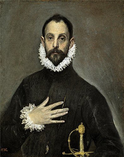 Oil Painting 'El Greco The Nobleman With His Hand On His Chest Ca. 1580 ' Printing On High Quality Polyster Canvas , 12 X 15 Inch / 30 X 39 Cm ,the Best Home Office Decoration And Home Gallery Art And Gifts Is This High Resolution Art Decorative Canvas Prints