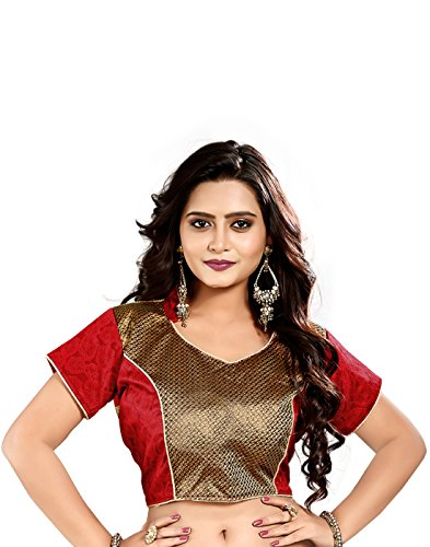 Lookslady Heavy Designer Brocade Red Embroidered Zari Work Women ethnic wear ready made stitched blouse for wedding & party sarees (only choli)