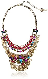 "Betsey Johnson ""Carnival"" Multi-Chain Crystal Necklace, 19"""