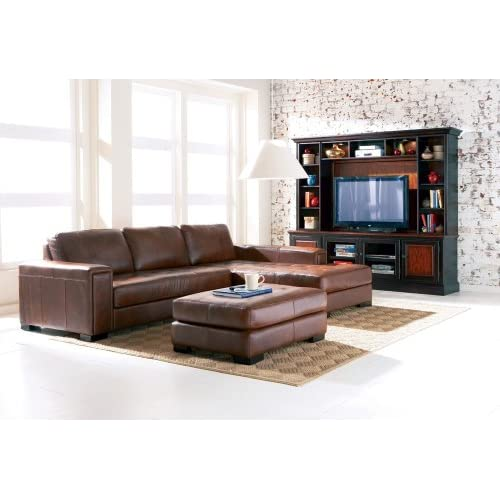 Amazon.com - Contemporary Brown 100% Leather Sectional Sofa -