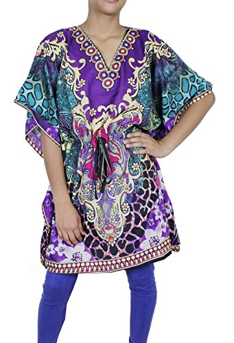 Womens Wear Cotton Kaftan Dress Short Beach Cover Up Tunic Printed Caftan