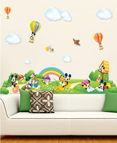 Clest F&H Wall stickers Mickey's paradise Home Decor Mural wall Decals Free shipping 74.7cm*168.8cm