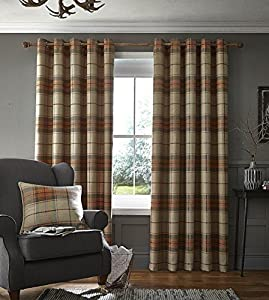 """Wool Look Woven Tartan Check Orange Beige Lined 66"""" X 72"""" - 168cm X 183cm Ring Top Curtains by Curtains"""