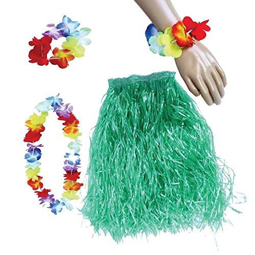 Dazzling Toys Flower Leis Set Streamer Skirt (Adjustable At Waist) Necklace, Choker and Bracelet