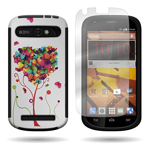 ZTE Warp Sync Case, By CoverON Rugged Heavy Duty Hybrid phone case Skin Cover for ZTE Warp Sync N9515 w/ Screen Protector Included - Design Butterfly Heart (Zte Warp Sync Phone Accessories compare prices)