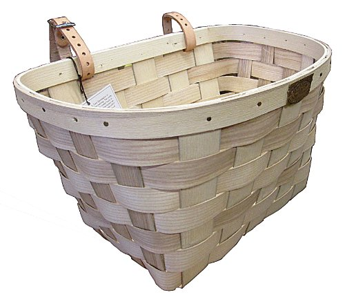Peterboro Bike Basket made from Ash wood - made in USA - Large - Tan , genuine leather starps , brass medallion Tan