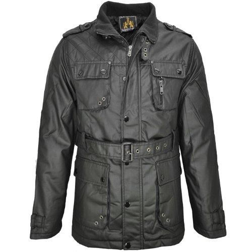 Soulstar Barb Waxed Bekted Military Coat Jacket Mens Size M