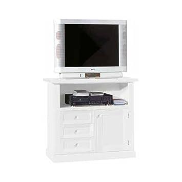 Mueble TV, estilo clasico, en madera maciza y mdf con acabado blanco mate - Medidas 84 x 40 x 80