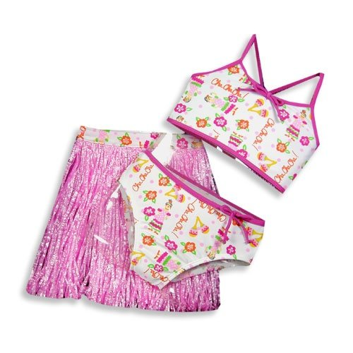 Castaways - Toddler Girls 3 Piece Swimwear Set, Bikini and Hula Skirt, Pink, White (Size 4T)
