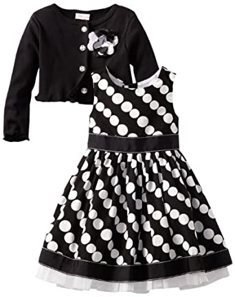 Youngland Little Girls' Cardigan Dress, Black/White, 2T