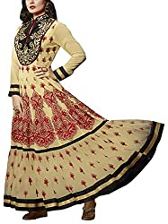Sara Fashion Women's Georgette Unstitched Dress Material (Beige)