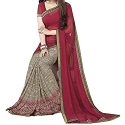 Pramukh saris Womens Georgette Flower Printed Sari(Red)