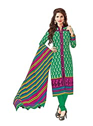 Taos Brand cotton dress materials for women womens dress materials cotton salwar suit New Arrival latest 2016 womens party wear Unstitched dress materials for women (1421summer__cream and sky blue_freesize