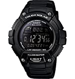 "Casio Men's W-S220-1BVCF ""Tough Solar"" Running Watch with Black Resin Band"