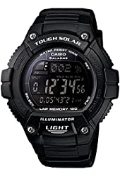 """Casio Men's W-S220-1BVCF """"Tough Solar"""" Running Watch with Black Resin Band"""