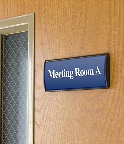 Displays2go Set of 5, Office Sign Holders for Wall Mount, Curved Name Plate Frames for 3 x 8 Inches Signage, Includes Double-Sided Adhesive for Mounting, Aluminum, Black (WCSBK38) (Frame Double Sided Tape compare prices)