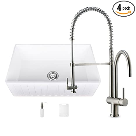 VIGO 36 inch Farmhouse Apron Single Bowl Matte Stone Kitchen Sink and Dresden Stainless Steel Faucet Set