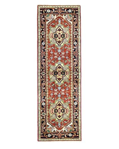 "Bashian Rugs One-of-a-Kind Hand Knotted Indo-Herez Rug, Rust, 2' 7"" x 8' Runner"