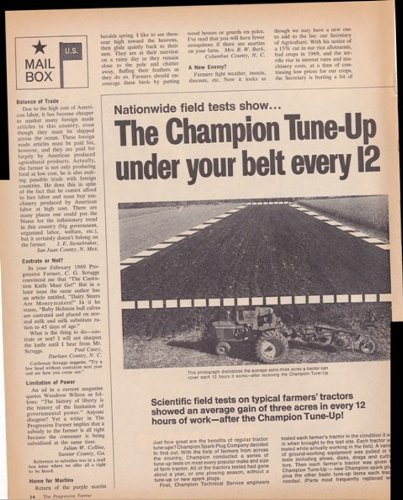 Champion Spark Plugs John Deere Tractor 2 Page 1970 Original Vintage Advertisement