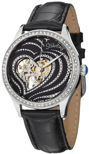 Stuhrling Original Women's 429.22151 Amour Aphrodite Temptation Automatic Skeleton Swarovski Crystals Black Leather Strap Watch