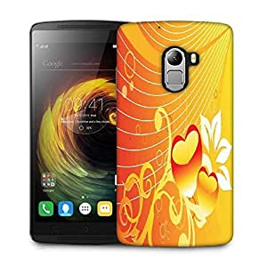 Snoogg abstract romantic wallpaper of floral themes in orange Designer Protective Back Case Cover For Lenovo K4 Note