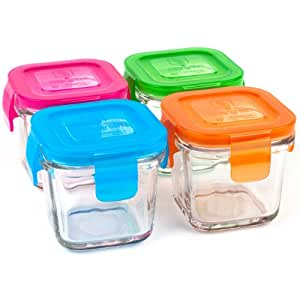 Wean Green Wean Cubes 4oz/120ml Baby Food Glass Containers - Multi Color (Set of 4)