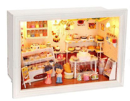 Big Dollhouse Miniature Diy Wood Frame Kit With Light Model Sweet Promise Gift Ldollhouse95-D59