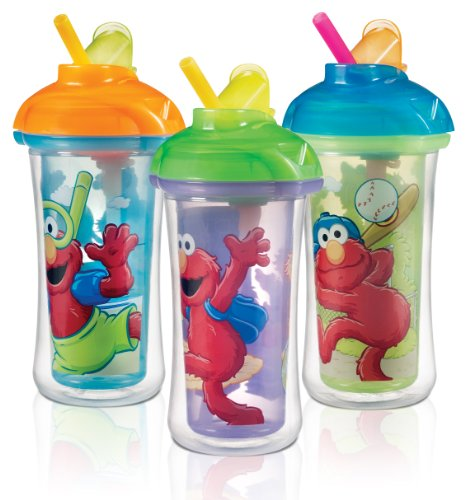 Munchkin Sesame Street Elmo Click Lock Insulated Straw Cups BPA Free 9oz 266ml - 3pk