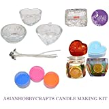 AsianHobbyCrafts Candle Making Kit Contents: Transparent Gel Candle Wax, Wax Colors, Candle Wicks, Acrylic Candle Container (Kit 5) (Kit 3)