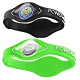 Power Balance Silicone Sports Wristbands-Black-PB-Lime-S-Pack-of-2