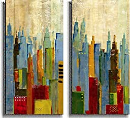 Towerscape I & II by Jason Cardenas 2-pc Stretched Canvas Set (Ready to Hang)