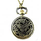 Youyoupifa Unique Retro Design Bronze Butterfly Openwork Cover Pocket Quartz Watch NBW0PA7103-CO3