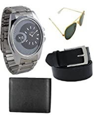 Gift Set Of Watch Sunglass Belt And Wallet