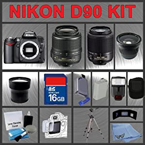 Nikon D90 SLR Digital Camera with 18-55mm VR Lens and 55-200mm DX Lens + Huge Accessories Package Including Wide Angle Macro Lens + Telephoto Lens + 16gb SDHC Memory Card + Hi-Speed SD Card Reader + Digital Flash + Extended Life Battery + Tripod + LCD Lens Cleaner Kit + LCD Screen Protectors + Memory Card Wallet + Carrying Case + Cleaning Cloth