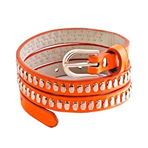 Pugster Gold Metal On Genuine Orange Leather Style Adjustable Twining Bracelet