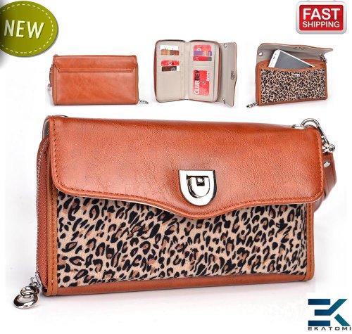 Women's Wallet Wrist-let Clutch fits Samsung Champ Neo Duos C3262 Phone Case Shoulder Bag - BROWN & LEOPARD. Bonus Ekatomi Screen Cleaner