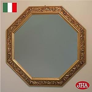 イタリア製 JHAアンティーク風水ミラー (エレガント・金運ゴールド)八角形(L)W495×H495 IG-4 壁掛け鏡 ウォールミラー