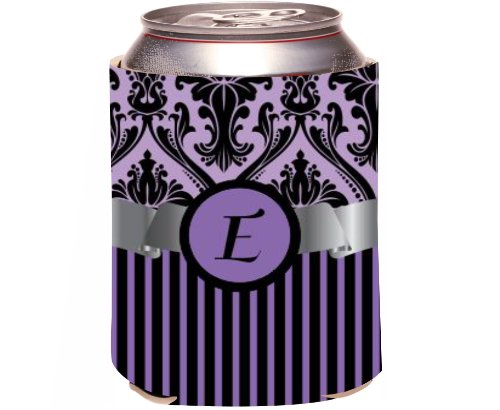 "Rikki Knight Beer Can Soda Drinks Cooler Koozie, Letter ""E"" Initial Monogrammed Design, Damask And Stripes, Purple front-643699"