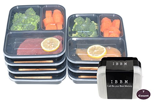 IBBM 7 Pack Reusable 3 Compartment Food Storage with Lids - Black (Hot Plate Rack compare prices)